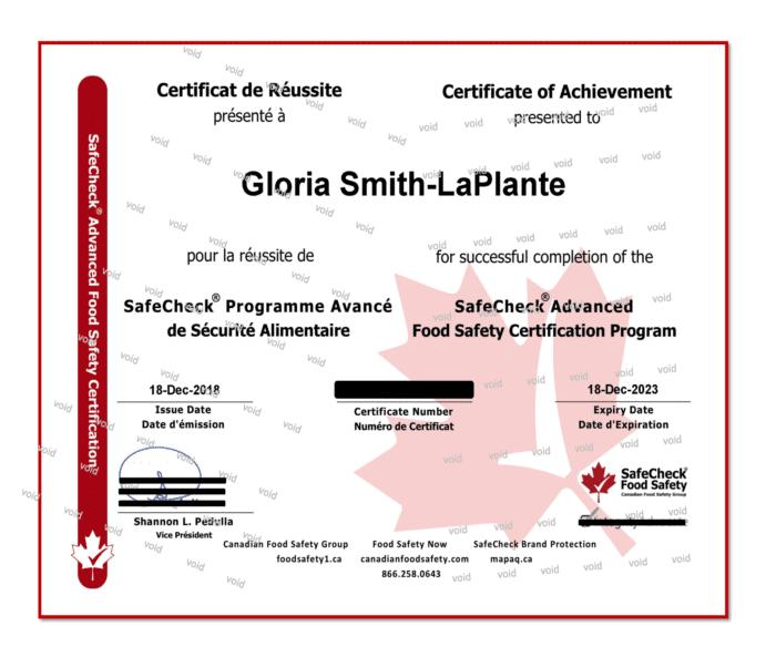 Canadian Food Handler Certificate - SafeCheck Advanced