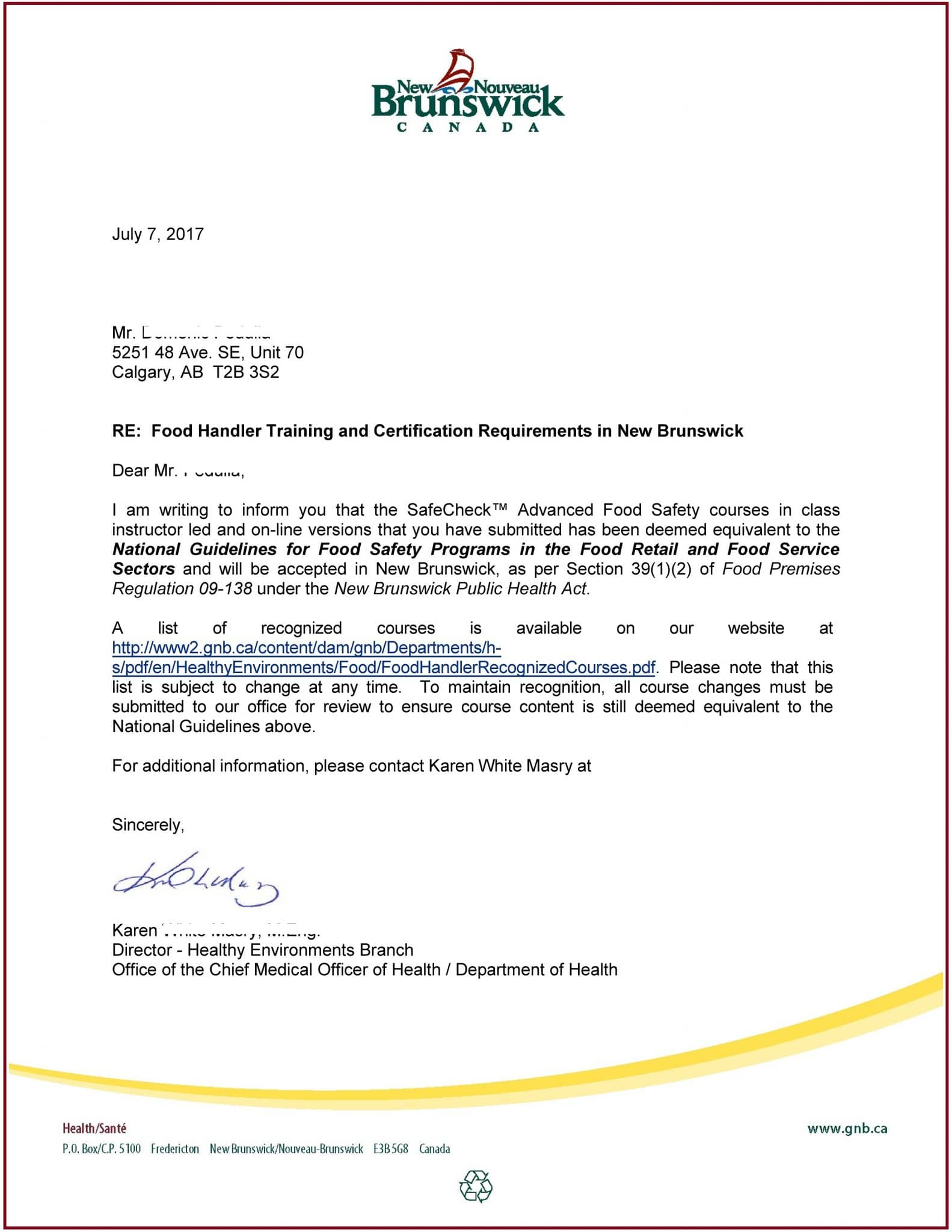 New Brunswick - Food Safety Course Approval A