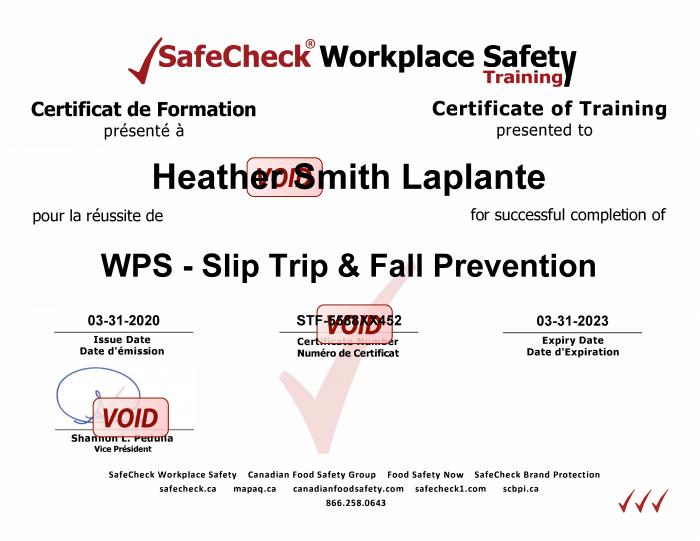 Slip Trip Fall Prevention Certificate