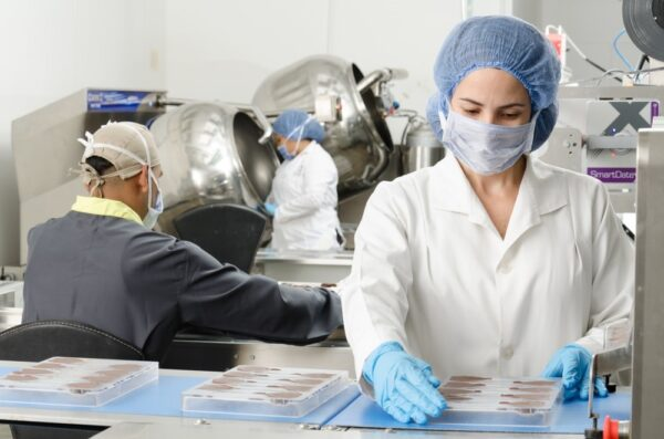 A professional inspecting chocolate in a factory