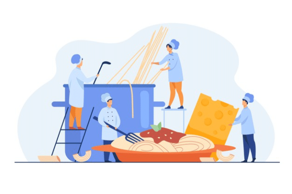 Concept illustration of restaurant staff cooking food keeping food safety training in mind.